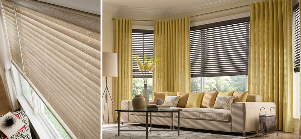 Graber Traditions natural Wood Blinds picture window blinds yellow window panels