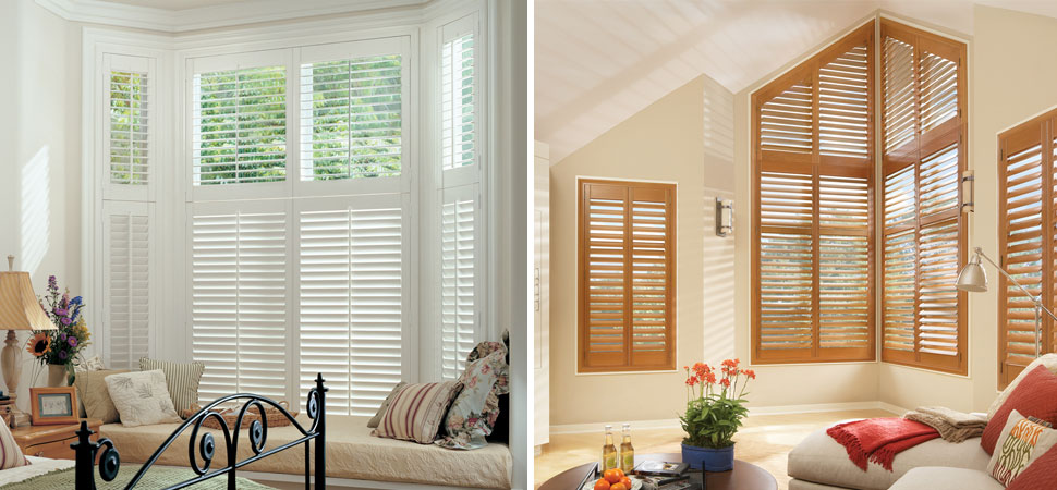 custom shutter plantation shutters Hunter Douglas Shutters New Style Palm Beach white specialty shape half circle shutters red shutters brown shutters