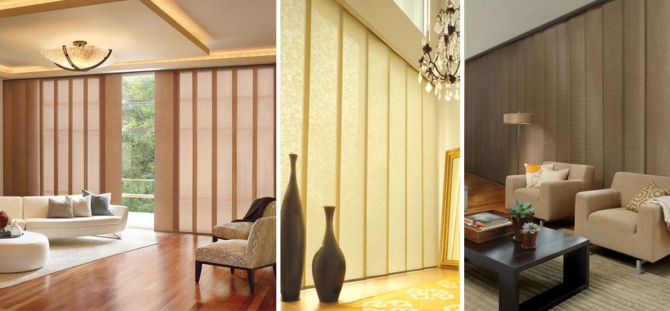 Custom Hunter Douglas vertical blinds Skyline Vertical Blinds yellow living room light filtering custom vertical blinds