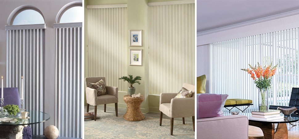custom hunter douglas Vertical Solutions fabric vinyl yellow white economical