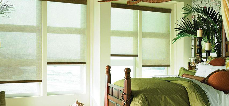 eco-friendly sustainable Lafayette Interior Fashions Eco Friendly Screen Shades green light filtering shade
