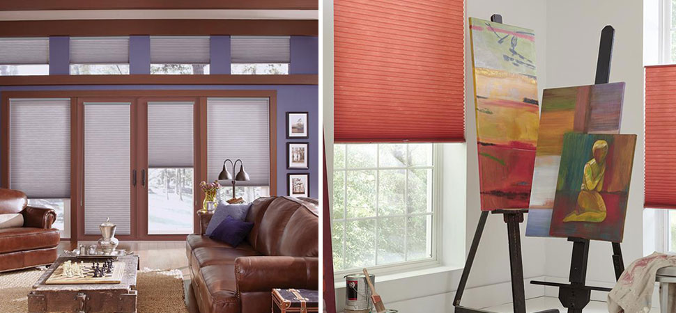 cellular shades honeycomb shades pleated shades Lafayette Parasol Honeycomb shades Red shades purple shades top down bottom up