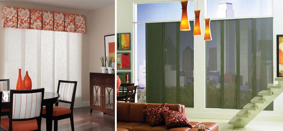 custom vertical panels orange white Vertical shades light filtering shade Lafayette Interior Fashions Vertical Panel Track