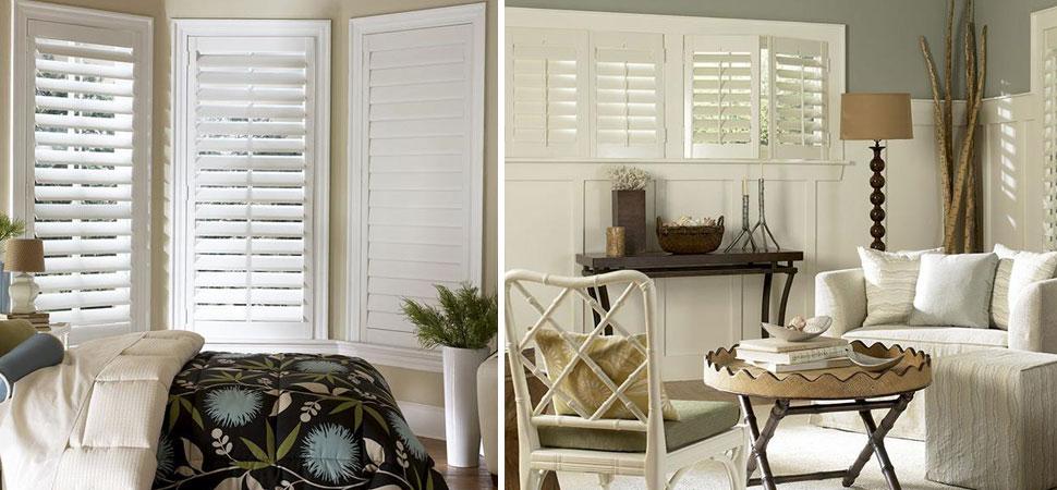 custom shutters - plantation shutters white Wyndham Shutters Lafayette bedroom shutters small windows